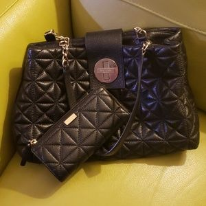 Kate Spade shiny black quilted bag and wallet